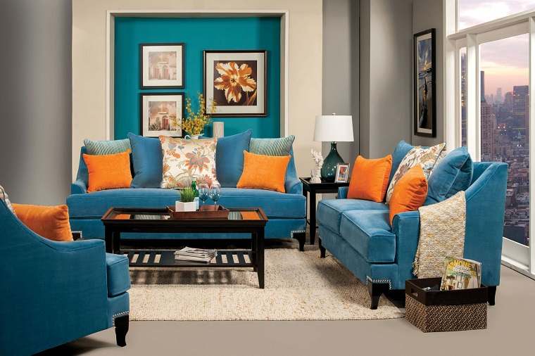 Vincenzo Collection Sofa In Peacock Blue Buy Furniture - Latinwordlist.com